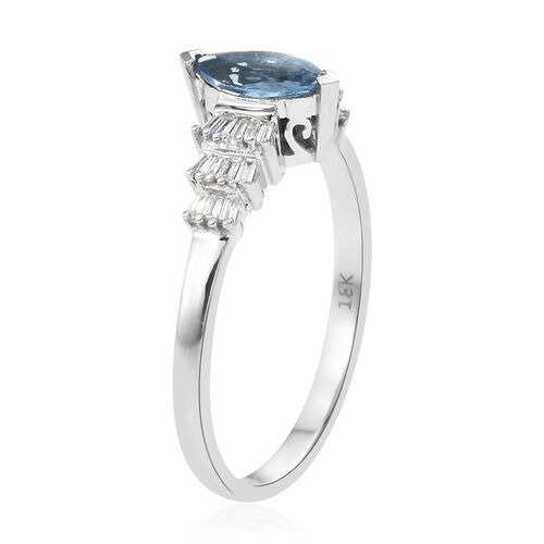 ILIANA 18K White Gold AAA Santa Maria Aquamarine (Mrq), Diamond (SI/G-H) Ring 0.650 Ct.