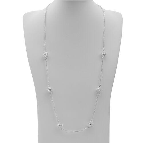 Designer Inspired Sterling Silver Oval Link Station Necklace (Size 28), Silver wt 12.81 Gms.