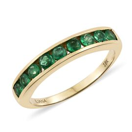 ILIANA 1 Carat AAAA Emerald Half Eternity Ring in 18K Gold 4.24 Grams