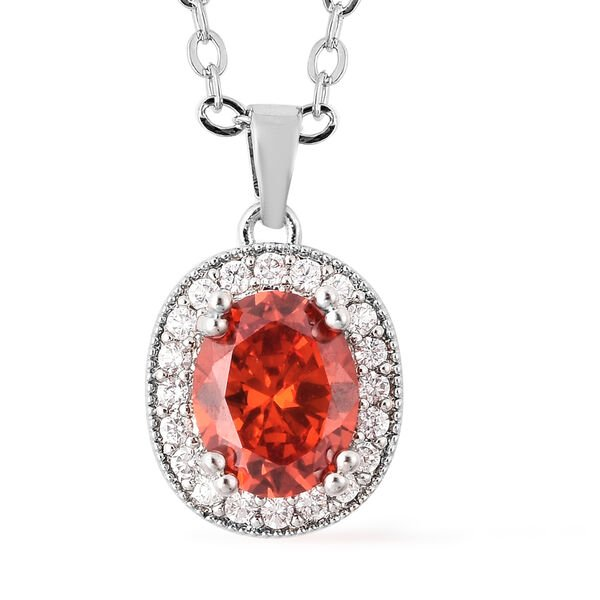 3 Piece Set- Simulated Orange Sapphire, Simulated Diamond Ring, Earrings (with Clasp) and Pendant With Chain (Size 18 with 3 inch Extender) in Silver Tone