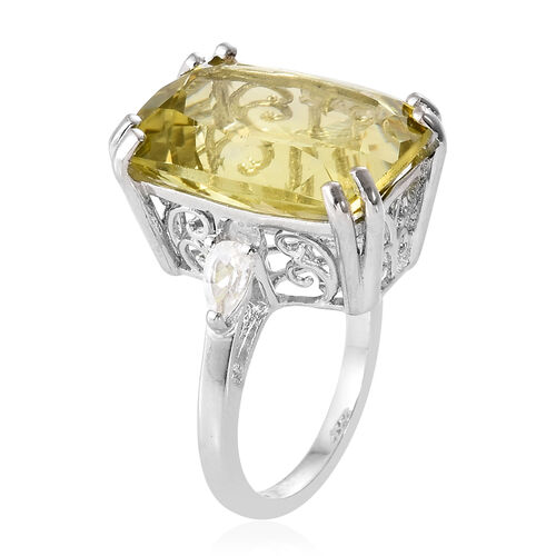 Boca Rica Rare Size Ouro Verde Quartz (Cush 18x13 mm), White Topaz Ring in  Platinum Overlay Sterling Silver 14.250 Ct.