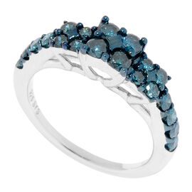 New York Close Out- Diamond (Rnd) Ring in Rhodium Overlay Sterling Silver 1.000 Ct.