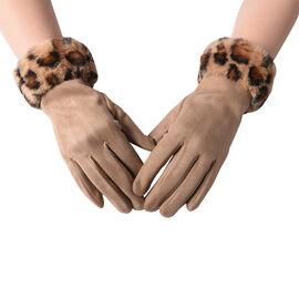 Faux Fur Leopard Print Trim Gloves (Size 9x23cm) - Khaki and Brown