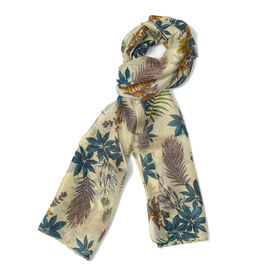 Last In Stock - 100% Mulberry Silk Cream, Blue and Yellow Colour Floral Pattern Scarf (Size 180x50 C