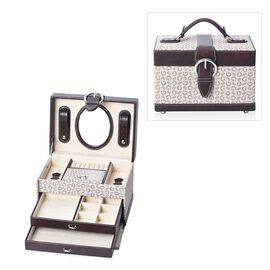 3-Layer Faux Leather G- Pattern Travel Jewellery Box with Inside Mirror, Two Pulled-out Drawers and