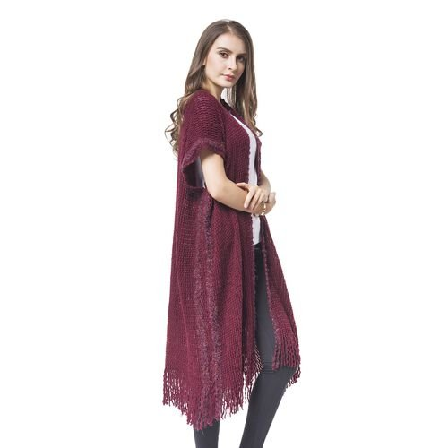 Designer Inspired-Wine Red Colour Knitted Kimono with Tassels (Free Size)