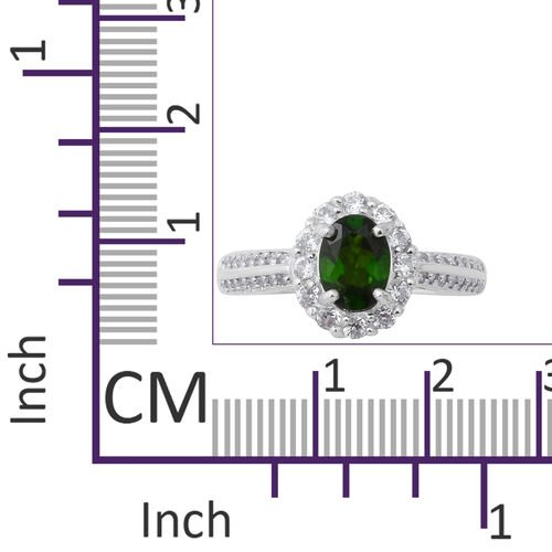 Russian Diopside (Ovl), Natural White Cambodian Zircon Ring in Rhodium Overlay Sterling Silver 2.12 Ct.