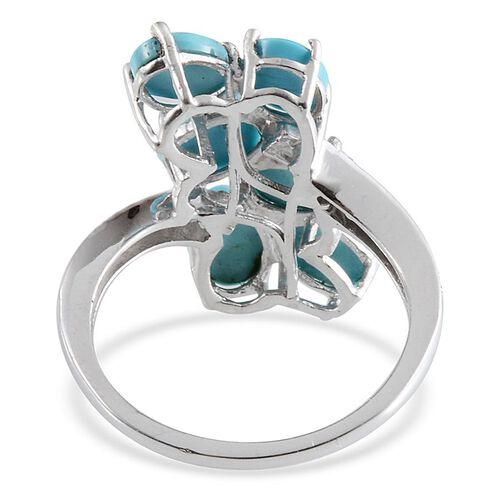 Arizona Sleeping Beauty Turquoise (Ovl), Diamond Ring in Platinum Overlay Sterling Silver 4.760 Ct.