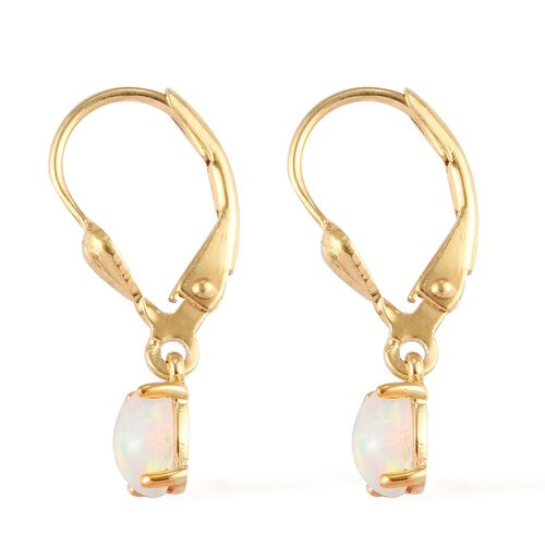 AA Ethiopian Welo Opal Solitaire Lever Back Earrings in 14K Gold Overlay Sterling Silver