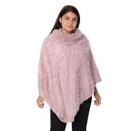 Winter Poncho with Faux Fur Collar (Size 83x97 Cm) - Pink