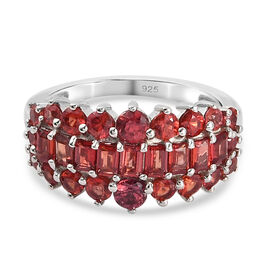 Red Sapphire Cluster Ring in Platinum Overlay Sterling Silver 2.31 Ct.