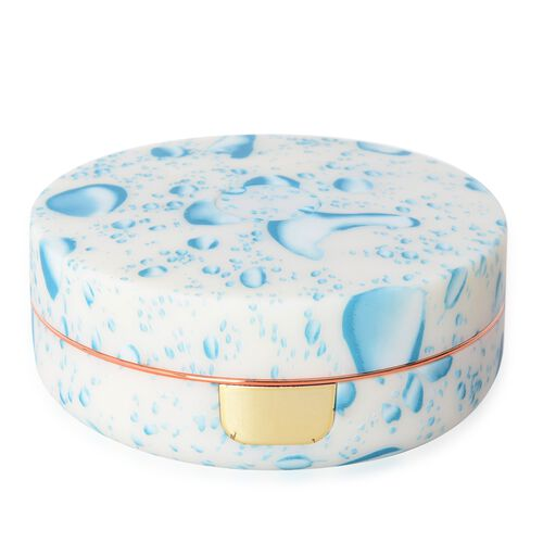 Blue and White Colour Round Shape Led Rechargeable Water Splash Pattern Jewellery Box with Mirror