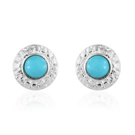 Sonoran Turquoise (Rnd), Natural Cambodian Zircon Stud Earrings (with Push Back) in Sterling Silver 1.250 Ct.