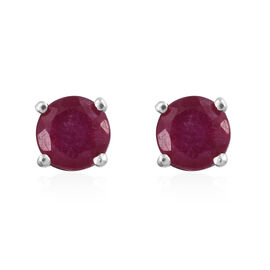 1.05 Ct African Ruby Solitaire Stud Earrings in Platinum Plated Sterling Silver