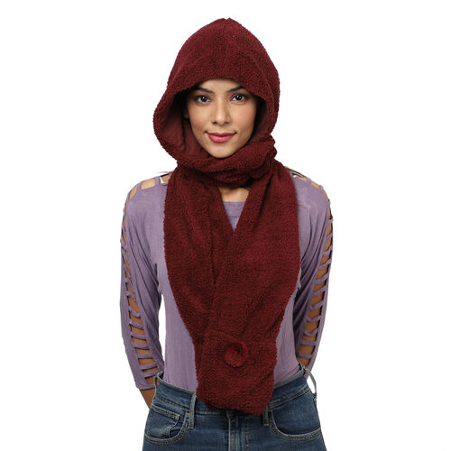 Winter Warm Soft Sherpa Hooded Scarf with Magnetic Button (Size Hood 27x30 Cm; Scarf 15x90 Cm) - Bur