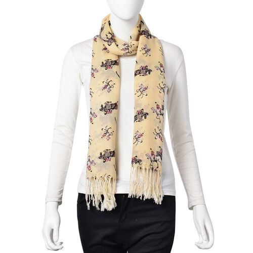 100% Wool Yellow, Pink and Multi Colour Men on Horse Pattern Scarf with Tassels (Size 184X68 Cm)