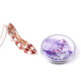 Set of 2 - White Colour Austrian Enamelled Heel Sandal Pendant with Chain (Size 28 with 2 inch Exten