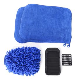 4 piece Set of Car Accessories feature a Chenille Cleaning glove (Size 22x17), 2 pcs Cleaning Towel