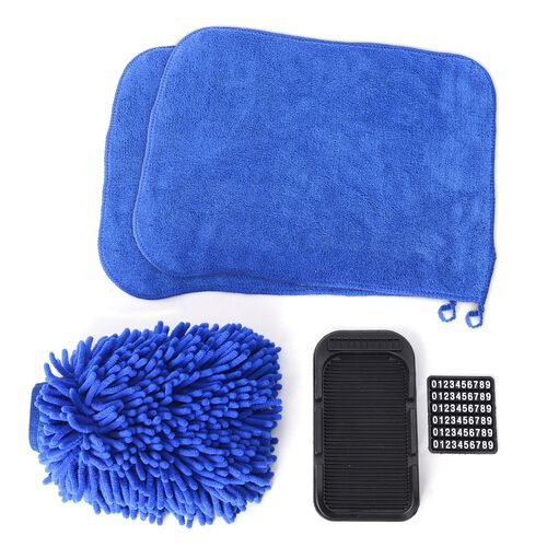 4 piece Set of Car Accessories feature a Chenille Cleaning glove (Size 22x17), 2 pcs Cleaning Towel (Size 40x30 Cm) and a cell phone holder (20x11 Cm) for Car  Dash Board Blue Colour