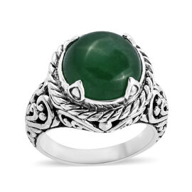 Bali Legacy Collection Green Jade (Rnd 14 mm) Ring in Sterling Silver 11.530 Ct, Silver wt 9.00 Gms.