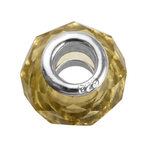 Charmes De Memoire Light Yellow Murano Style Glass Charm in Platinum Overlay Sterling Silver