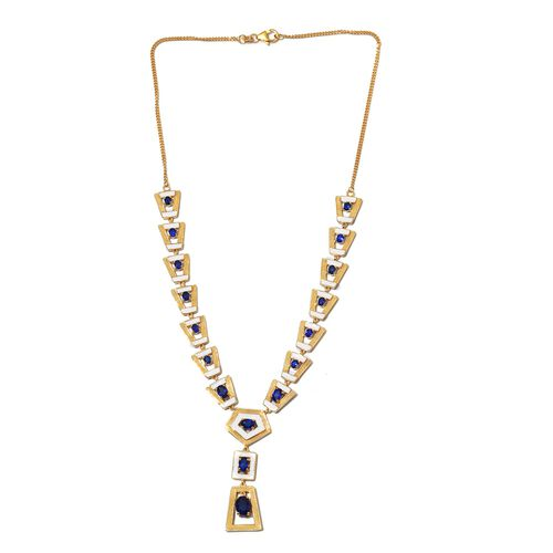 Tanzanian Blue Spinel Enamelled Necklace (Size 18) in 14K Gold Overlay Sterling Silver 5.75 Ct. Silver wt. 25.20 Gms