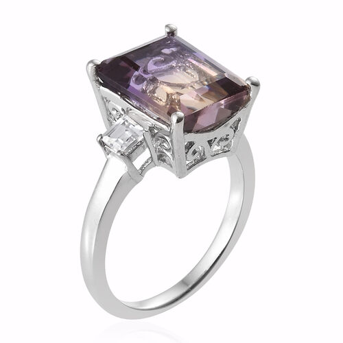 Anahi Ametrine (Oct), Natural White Cambodian Zircon Ring in Platinum Overlay Sterling Silver 4.750 Ct