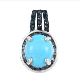 4.25 Ct Sleeping Beauty Turquoise and Blue Diamond Halo Pendant in Platinum Plated Sterling Silver