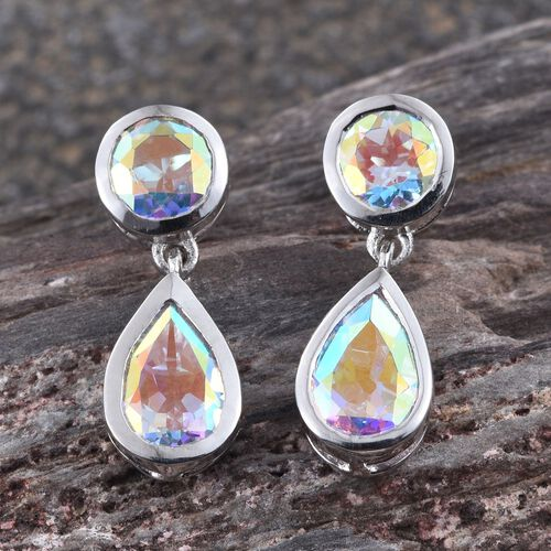 Mercury Mystic Topaz (Pear) Earrings (with Push Back) in Platinum Overlay Sterling Silver 4.750 Ct.