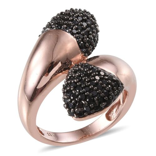 Boi Ploi Black Spinel (Rnd) Crossover Ring in Rose Gold Overlay Sterling Silver 1.250 Ct.