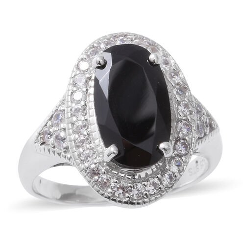 6.02 Ct Boi Ploi Black Spinel and Zircon Halo Ring in Silver 5.33 Grams