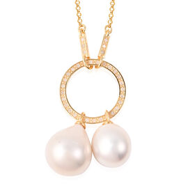 Isabella Liu Twilight Collection - Baroque Edison Pearl and Diamond Necklace (Size 22) in Yellow Gol