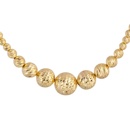 Close Out Deal- 9K Y Gold Diamond Cut Graduated Beads Necklace (Size 16.5 with 2.5 Inch Extender), G
