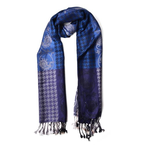 Navy, Black and Multi Colour Houndstooth and Paisley Pattern Scarf with Tassels (Size 185X70 Cm)