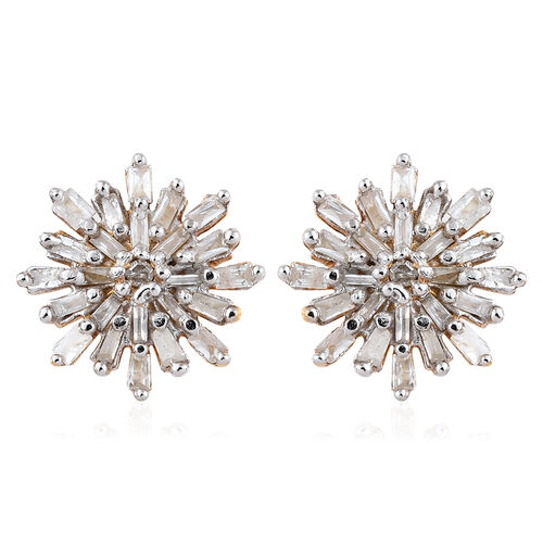 Diamond (Rnd and Bgt) Snow Flake Earrings (with Push Black) in 14K Gold Overlay Sterling Silver