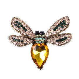 Simulated Champagne Diamond (Pear), Multicolour Austrain Crystal Bee Brooch in Antique Gold Plated