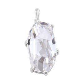 J Francis -Crystal from Swarovski - White Colour Crystal Pendant in Platinum Overlay Sterling Silver