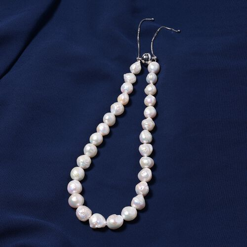 Organic Edison Pearl Bead Necklace (Size 18-24 Adjustable) with Magnetic Lock in Rhodium Overlay Sterling Silver