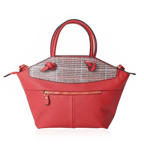 Red and White Colour Houndstooth Pattern Tote Bag with External Zipper Pocket with Shoulder Strap (Size 44x28x26x8 Cm)