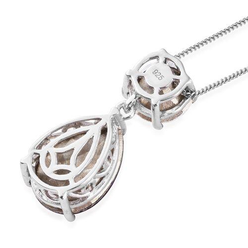J Francis Crystal from Swarovski - Amethyst Colour Crystal (Pear), AB Colour Crystal Pendant With Chain in Platinum Overlay Sterling Silver. Silver wt. 3.00 Gms.