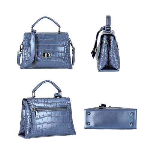 100% Genuine Leather Croc Embossed Satchel Bag with Detachable Shoulder Strap (Size 26.5x10.5x18.5 Cm) - Navy