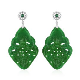 Green Jade and Simulated White Diamond Earrings (with Push Back) in Rhodium Plated Sterling Silver 40.000 Ct.