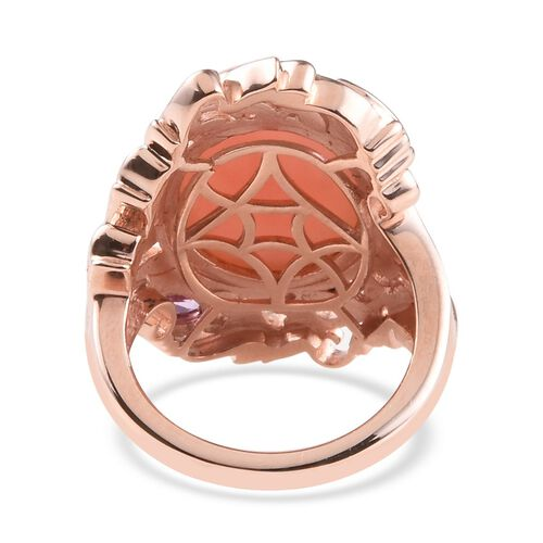 Peruvian Pink Opal (Ovl 16x12mm), Pink Sapphire Ring in Rose Gold Overlay Sterling Silver 7.50 Ct, Silver wt 8.06 Gms
