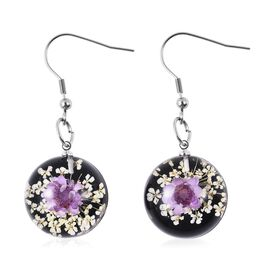 Pressed Purple Dried Flower Hook Earrings in Stainless Steel