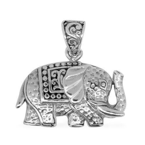 Vicenza Collection Sterling Silver Elephant Pendant, Silver wt 3.70 Gms.