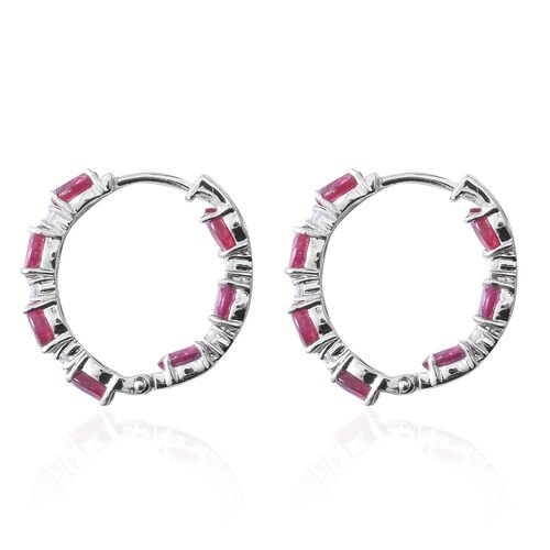 African Ruby (Ovl 6.42 Ct), Natural White Cambodian Zircon Earrings (with Clasp Lock) in Rhodium Overlay Sterling Silver 6.900 Ct.