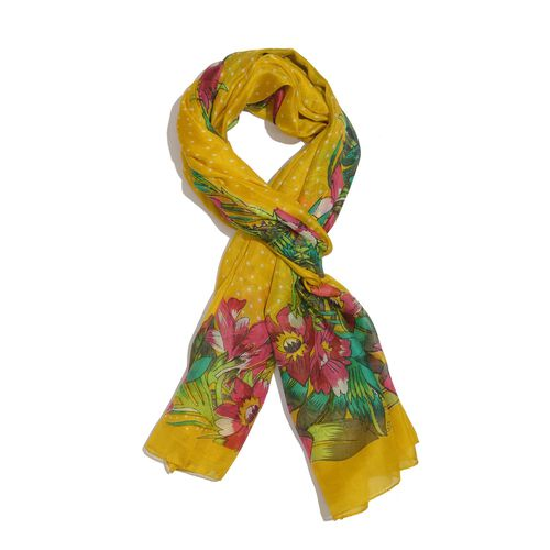 100% Mulberry Silk Yellow, Pink and Multi Colour Handscreen Floral and Leaves Printed Scarf (Size 20