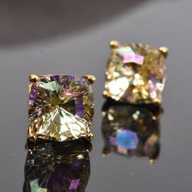 J Francis Crystal from Swarovski Lumingreen Crystal Stud Earrings (with Push Back) in 14K Gold Overlay Sterling Silver