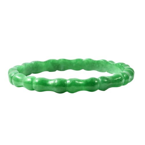 109 Carat Carved Green Jade Bamboo Bangle 7.75 Inch