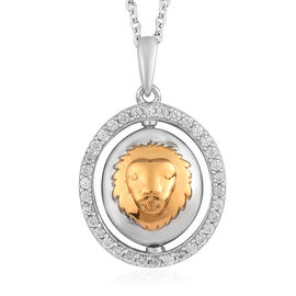 Natural Cambodian Zircon Zodiac-Leo Pendant with Chain (Size 20) in Yellow Gold and Platinum Overlay